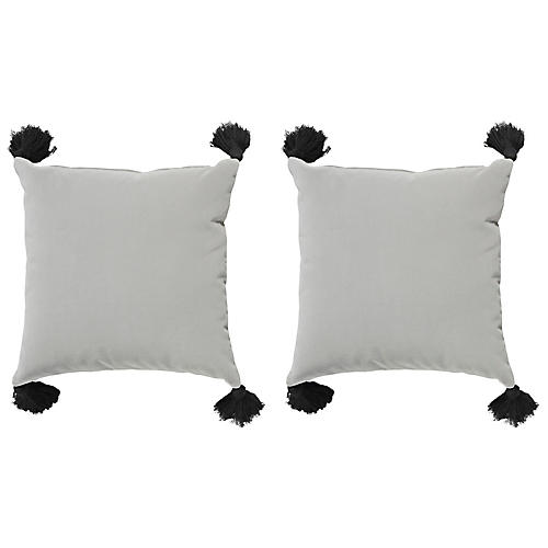 S/2 Emma Velvet Outdoor Pillows, Gray/Black