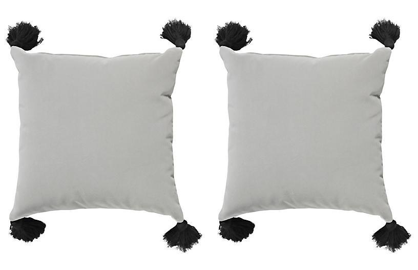 S/2 Emma Velvet Outdoor Pillows, Gray/Black