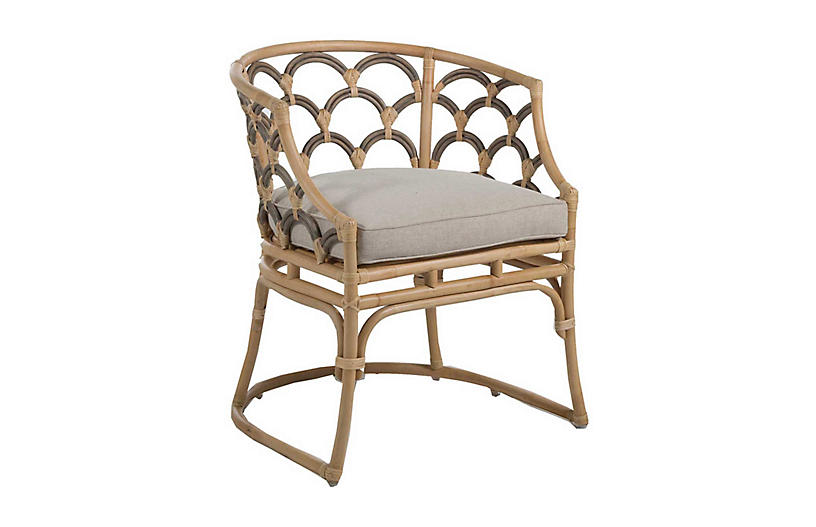 Coralee Dining Chair, Natural/Grey Rattan