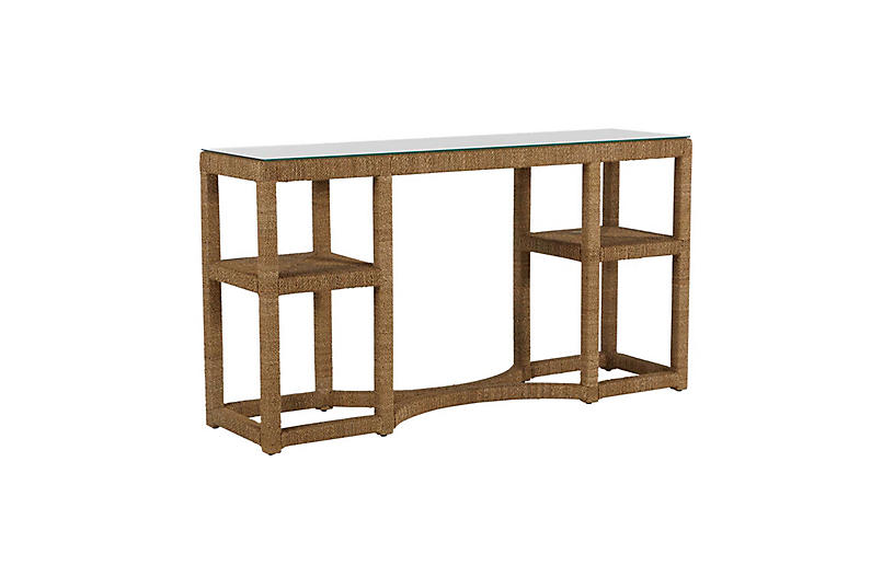 Dandridge Console Table, Natural Seagrass