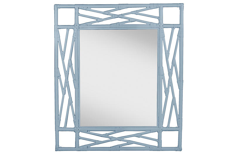 Chippendale Mirror, Light Blue
