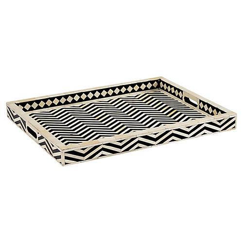 "24"" Newton Herringbone Decorative Tray, Black"