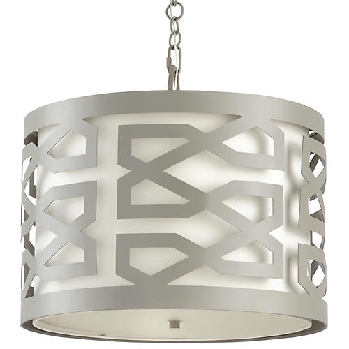 China Lattice Pendant, Pewter