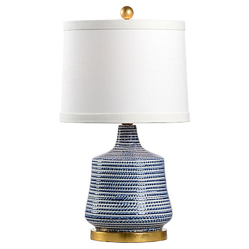 Beehive Table Lamp, Blue/Gold Leaf