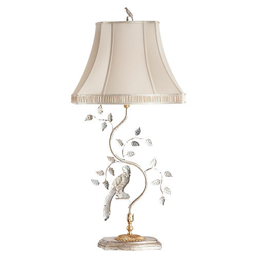 Corciano Left-Facing Crystal Table Lamp, Gold