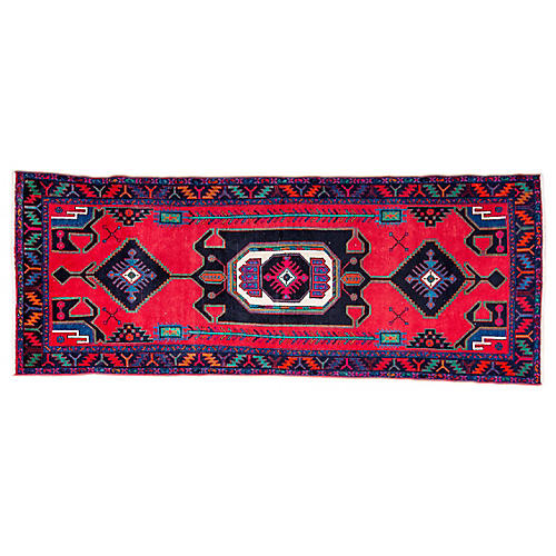 "3'9""x9'4"" Persian Hamadan Runner, Cherry/Black"