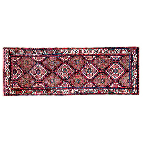 "3'6""x9'11"" Persian Hamadan Runner, Pink/Ivory"
