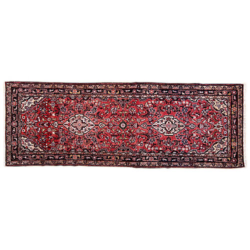 "3'7""x10' Persian Hamadan Runner, Red/Black"