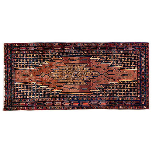 "4'6""x9'7"" Persian Hamadan Rug, Copper/Beige"