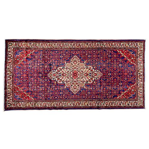 """5'5""""x10'7"""" Persian Hamadan Rug, Ivory/Blue"""