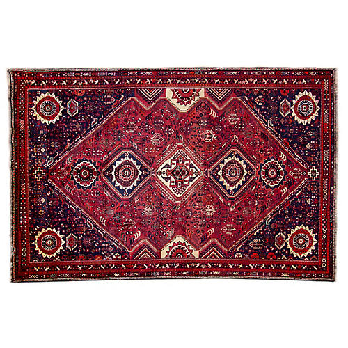 "7'x10'7"" Persian Shiraz Rug, Wine/Navy"