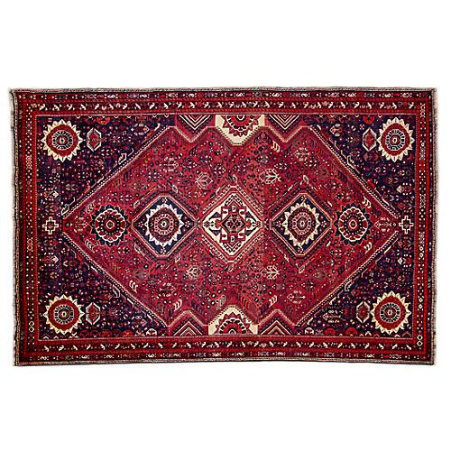 "7'x10'7"" Persian Shiraz Rug, Wine/Navy"
