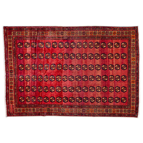 "7'1""x10' Persian Kurdi Rug, Red/Gray"