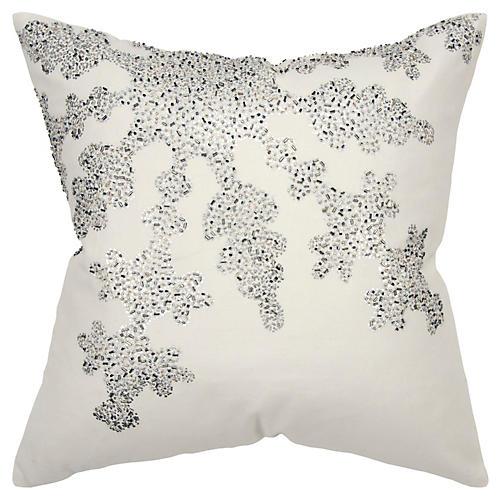 Crystal Snowflake 20x20 Pillow, Cream