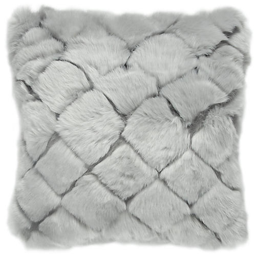 Tannon 20x20 Faux-Fur Pillow, Gray