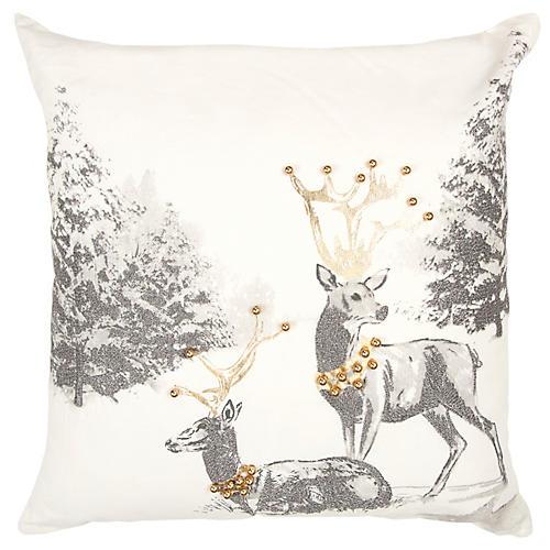 Snow Deers 20x20 Pillow, Cream/Multi