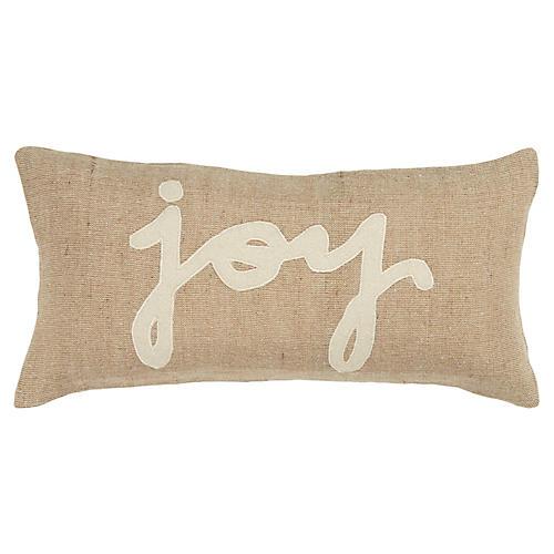 Joy 11x21 Holiday Lumbar Pillow, Natural/White