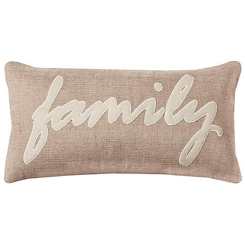 Family 11x21 Holiday Lumbar Pillow, Natural/White