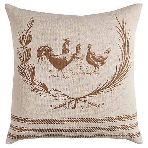 Dixie 17x17 Pillow, Natural/Tan