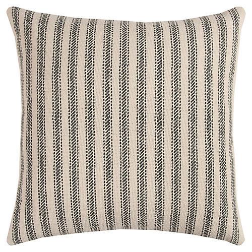 Blythe 17x17 Striped Pillow, Natural/Gray