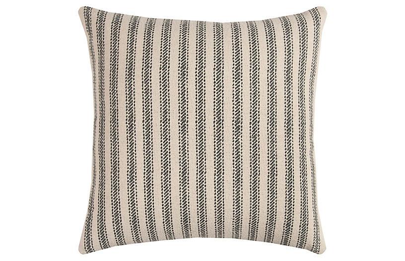 Blythe 20x20 Striped Pillow, Gray