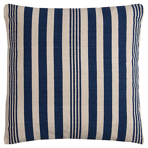 Buckley 17x17 Pillow, Cream/Navy Stripe