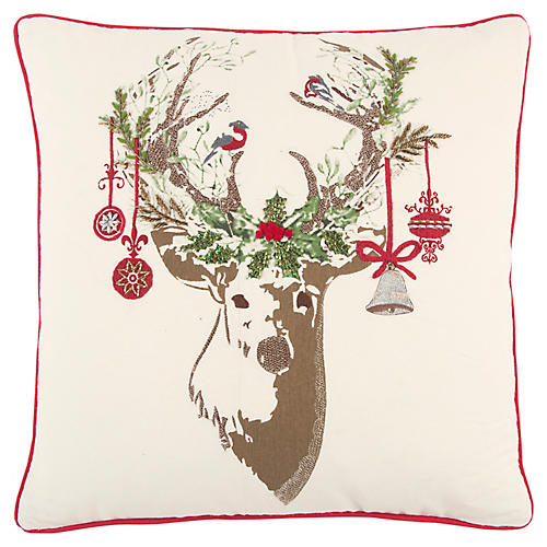 Dasher 20x20 Holiday Pillow, Beige/Multi