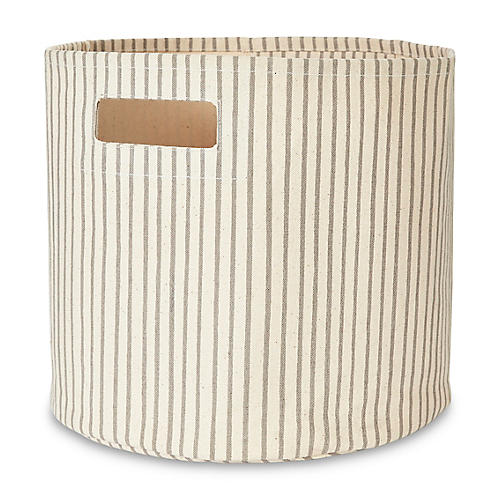 Stripes Away Storage Bin, Pebble/White