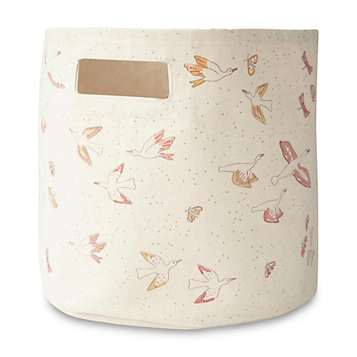 Birds of a Feather Storage Bin, White/Multi