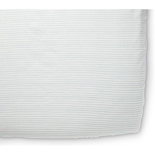 Stripes Away Crib Sheet, Sea