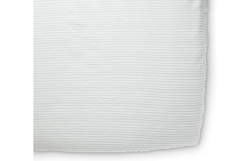 Stripes Away Crib Sheet, Sea