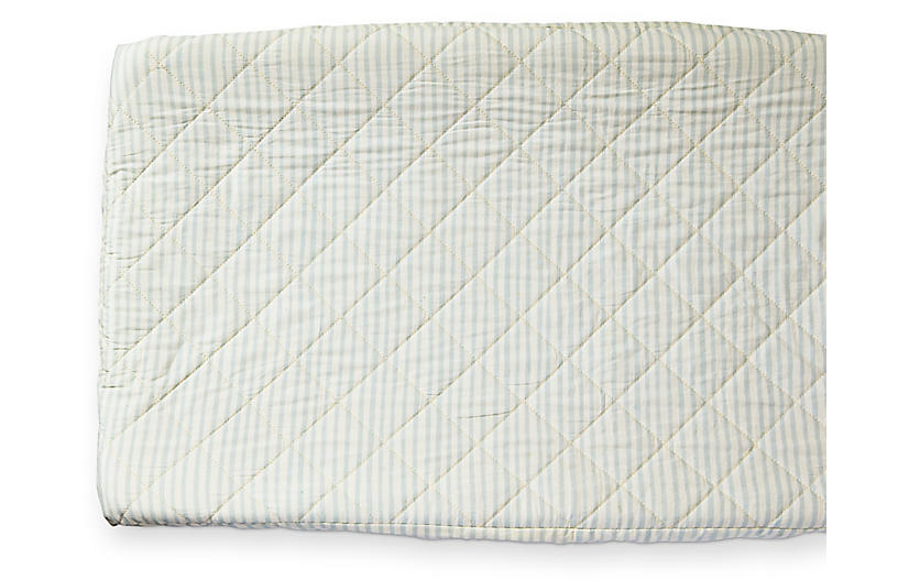 Stripes Away Cotton Change Pad Cover, Sea