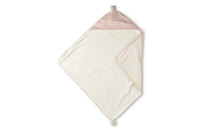 Stripes Away Cotton Hooded Towel, Petal