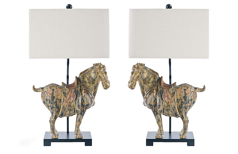 Southern Living Dynasty Horse Lamps, Distressed