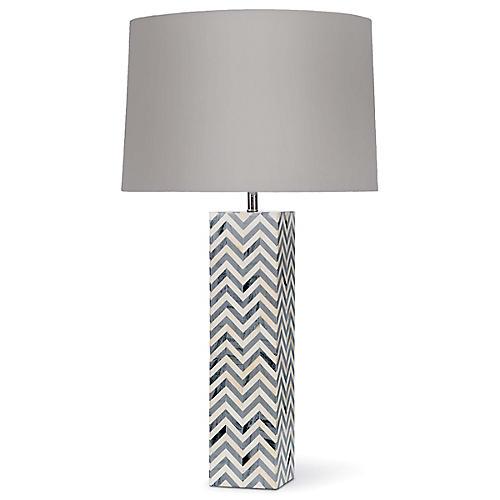 Chevron Bone Table Lamp, Gray