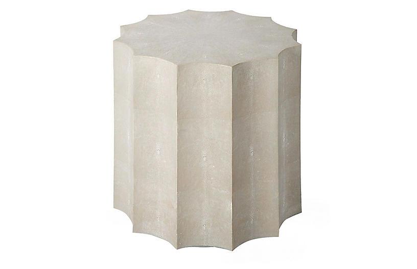 Marilyn Faux-Shagreen Side Table, Ivory/Gray