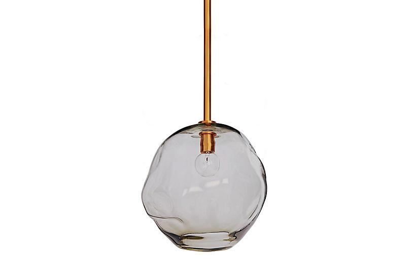 Large Molten Transparent Pendant, Brass