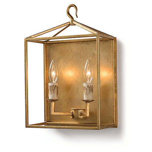 Cape Sconce, Antiqued Gold Leaf
