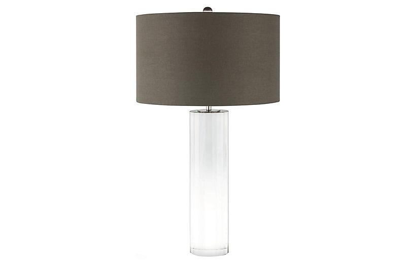 Romeo Table Lamp, Clear Crystal/Gray