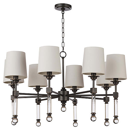 Crystal Tail Chandelier, Bronze