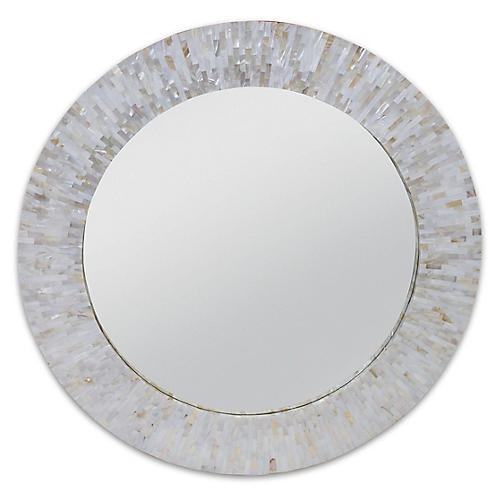 Chantal Round Mirror, Mother-Of-Pearl