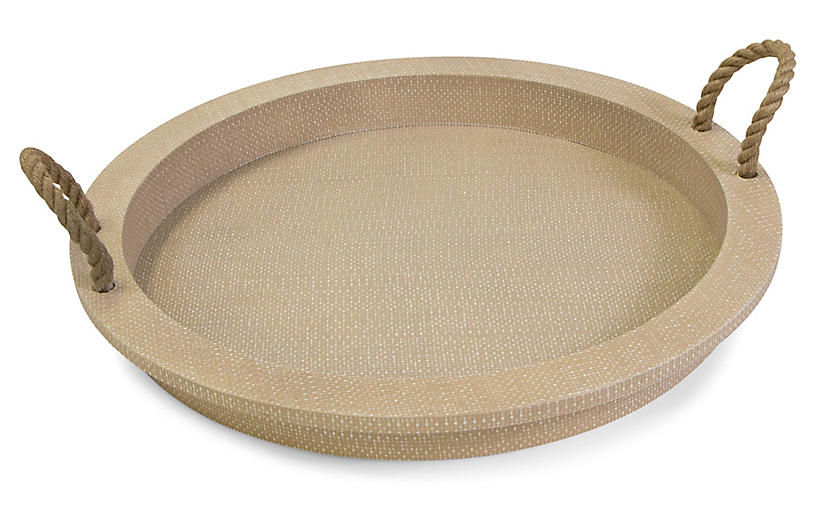 Aegean Serving Tray, Natural/White