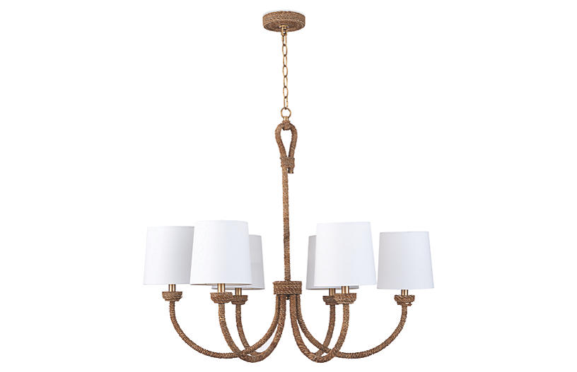 Coastal Living Bimini Small Chandelier, Natural