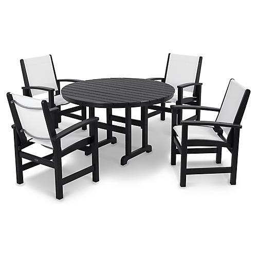 Coastal 5-Pc Round Dining Set, White/Black