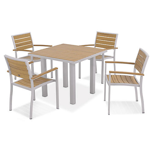 Euro 5-Pc Square Dining Set, Silver
