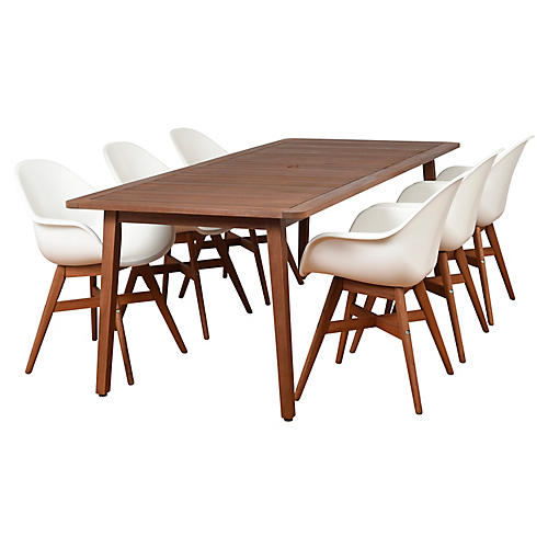 Charlotte 7-Pc Dining Set, Natural/White