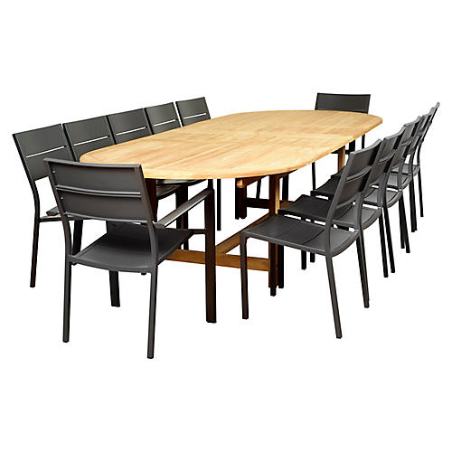 Koningsdam 13-Pc Extension Dining Set, Gray