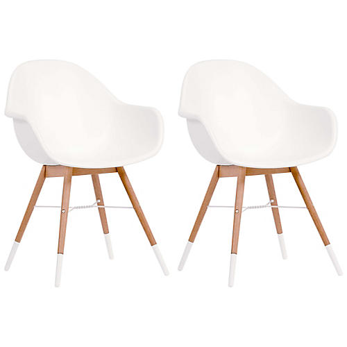 S/4 Charlotte Armchairs, White