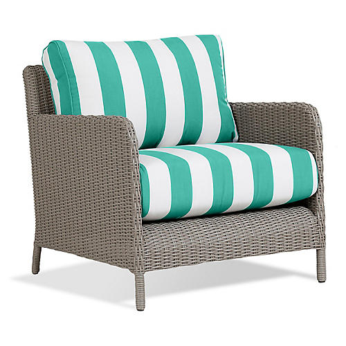 Manhattan Club Chair, Turquoise/White