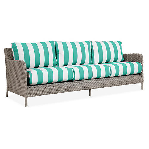 Manhattan Sofa, Turquoise/White